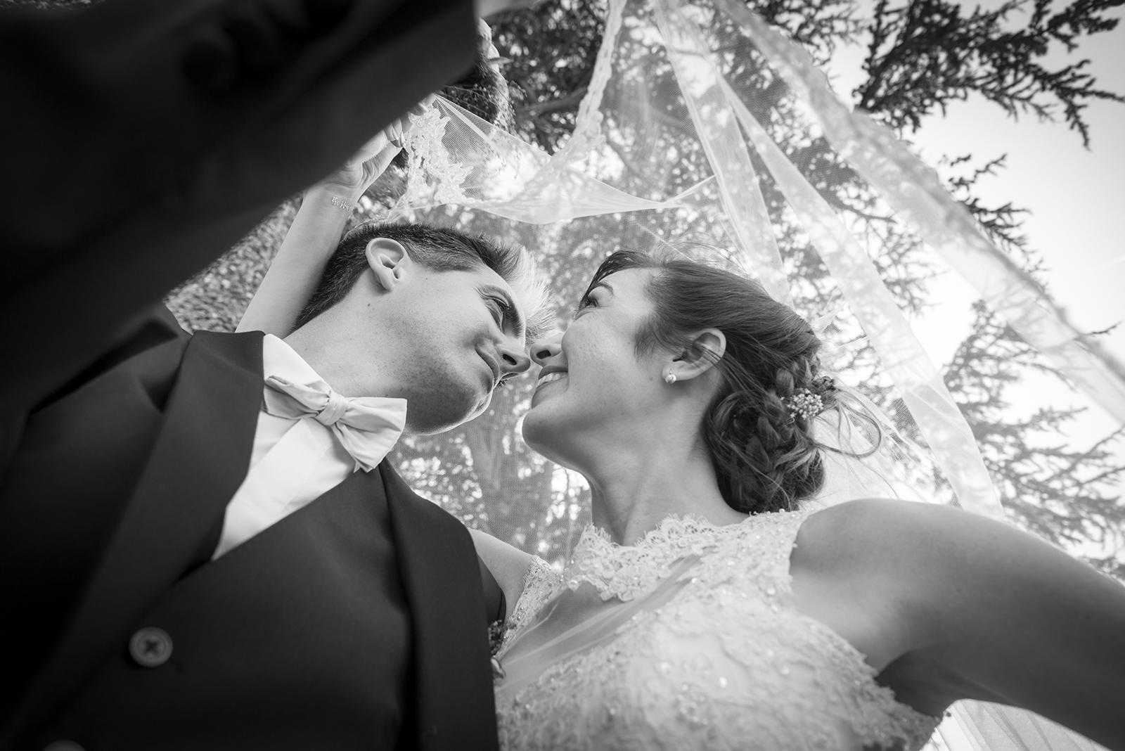 couple de marié sous le voile de la mariée noir et blanc