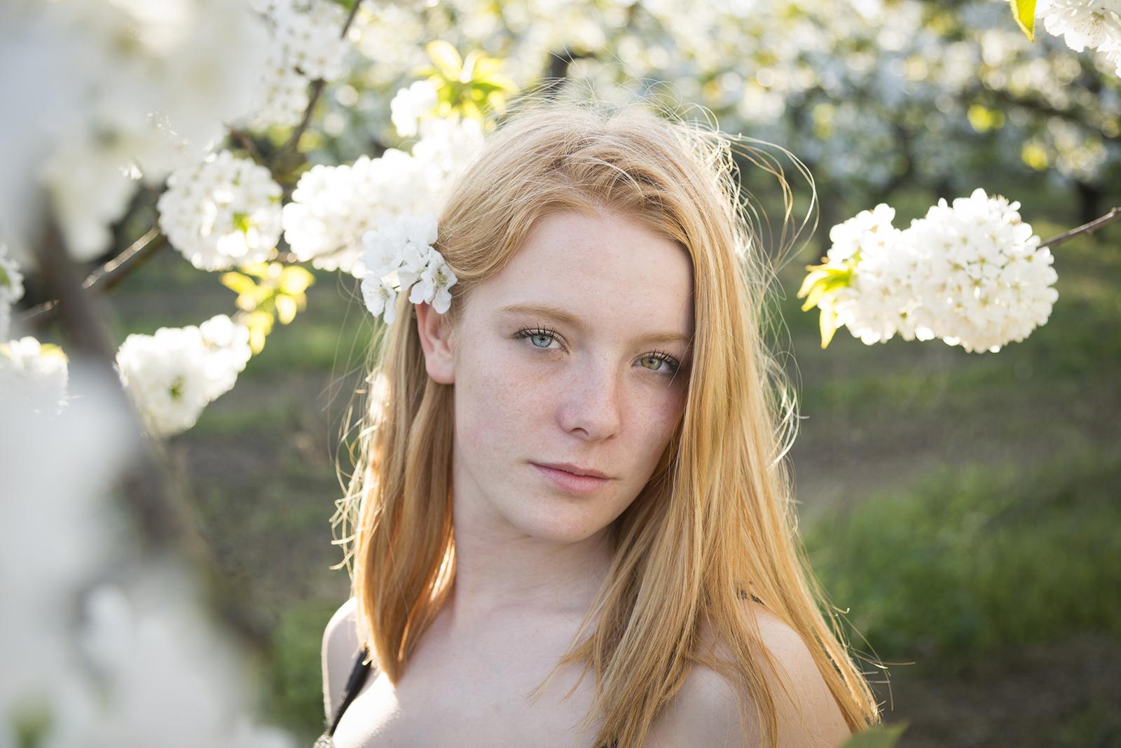 jeune femme dans les cerisiers en fleurs