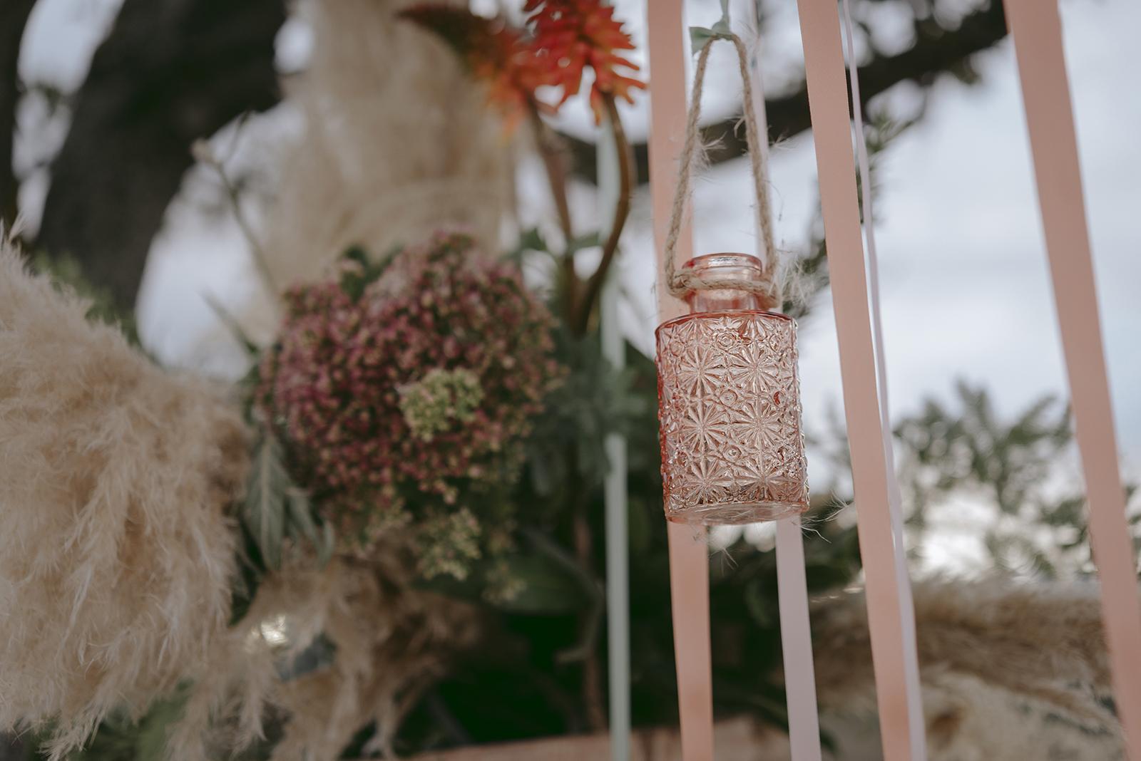 déco pêche vase et ruban