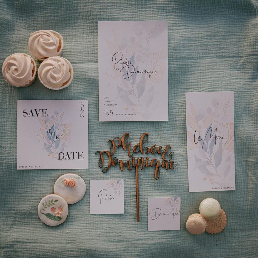 details de papeterie faire part mariage en ardèche couleur menthe