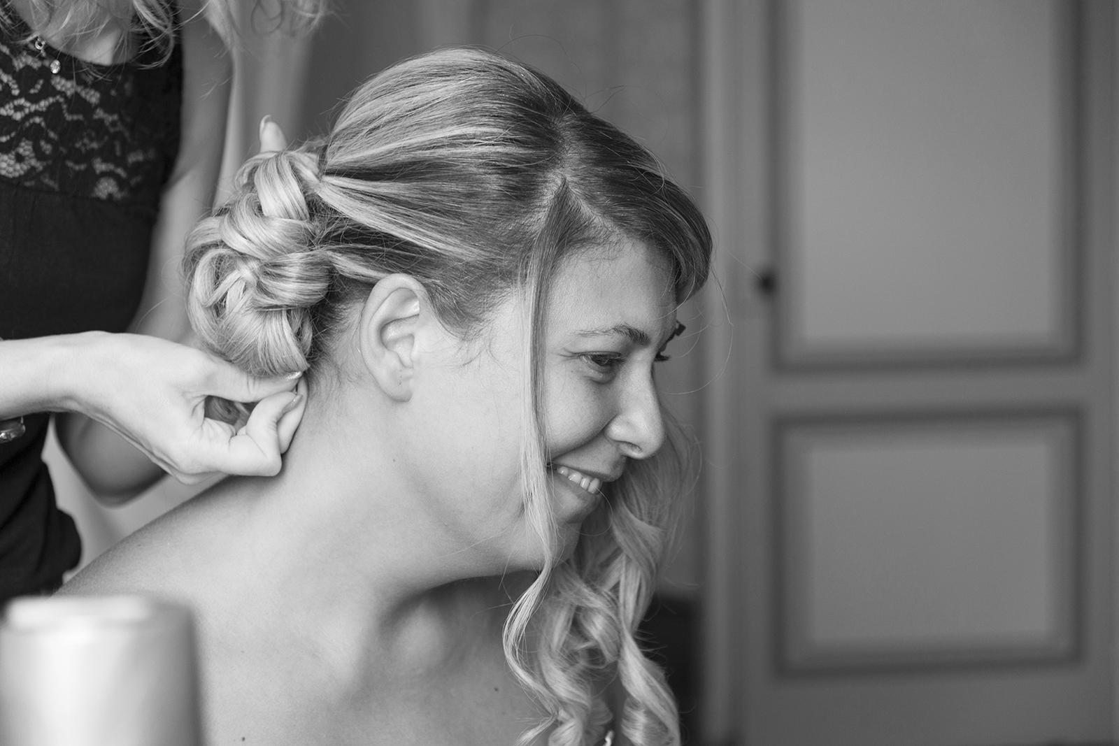 coiffure mariée en noir et blanc