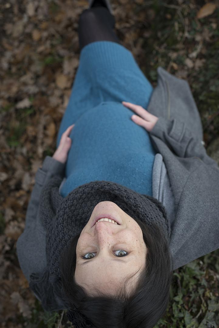 femme enceinte en hiver en plongée